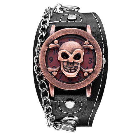Image of Punk Leather Skull Watch