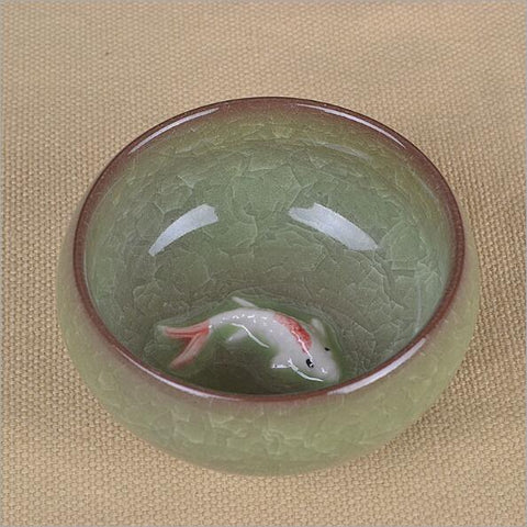 Image of Oriental Porcelain Koi Teacup