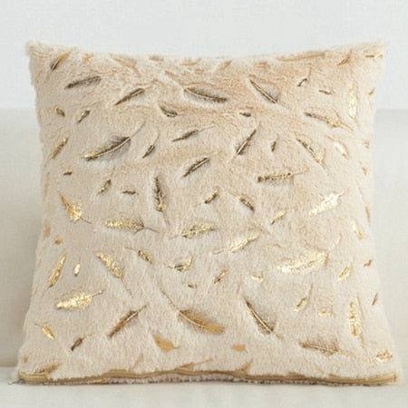 Gold Feather Decorative Pillow