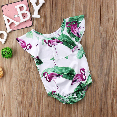 Image of Baby's Pink Flamingo Swimsuit