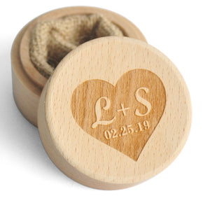 Personalised Carved Wooden Ring Holder