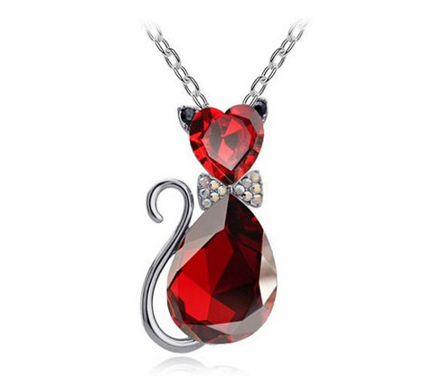 Image of Crystal Cat Pendant Necklace