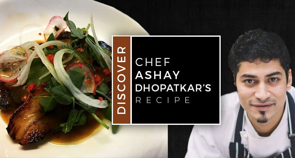 Chef Ashay Dhopatkar's Soy Glazed Slow Cooked Pork Belly with a Grain Mustard Dressing