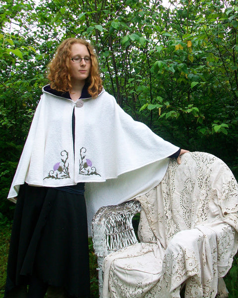 Arran Hooded Cape Celtic Cape Thistle embroidered cape