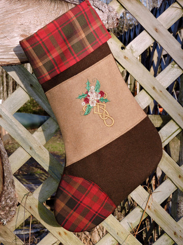 Maple Leaf Tartan Christmas Stocking