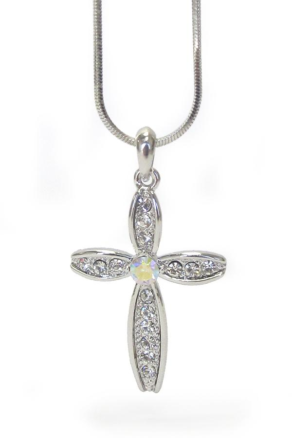 Whitegold plating crystal cross pendant necklace