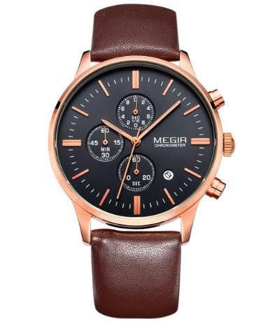 Ur - MEGIR - Leather Chrono - Brun/Sort