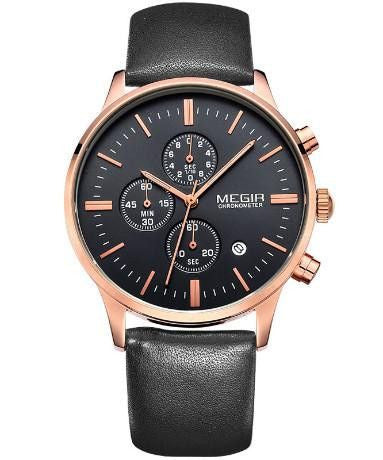 Ur - MEGIR - Leather Chrono - Guld/Sort