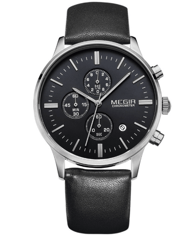 Ur - MEGIR - Leather Chrono - Sort/Sort