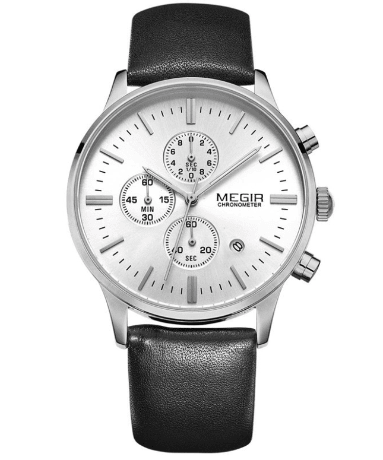 Ur - MEGIR - Leather Chrono - Sølv/Sort
