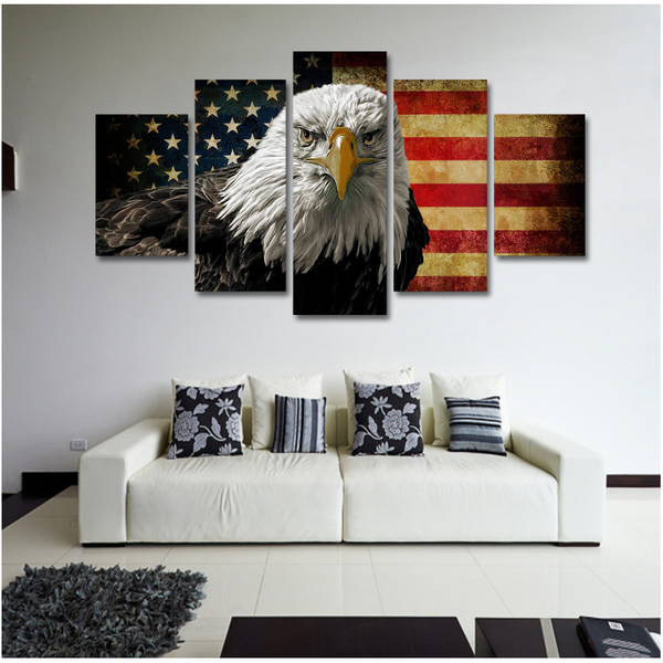 American Flag And Eagle Canvas Art