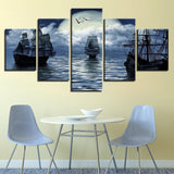 Sailing Ship in Distant Moon 5 Piece Canvas Art