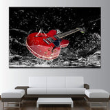 Red Electric Guitar Canvas Art - Mystikz Gaming