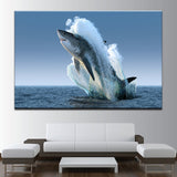 The Great White Shark Jumps Canvas Art - Mystikz Gaming