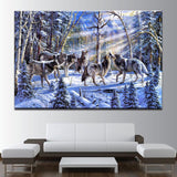 Wolf Pack In The Winter Forest Canvas Art - Mystikz Gaming