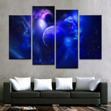 Blue Planet And The Galaxy Far Away Canvas Art - Mystikz Gaming