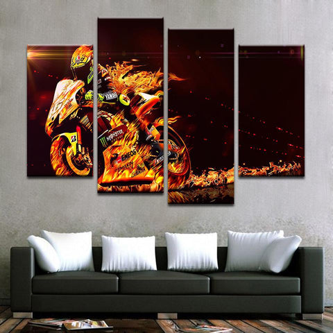 Fiery Motorbike Canvas Art - Mystikz Gaming