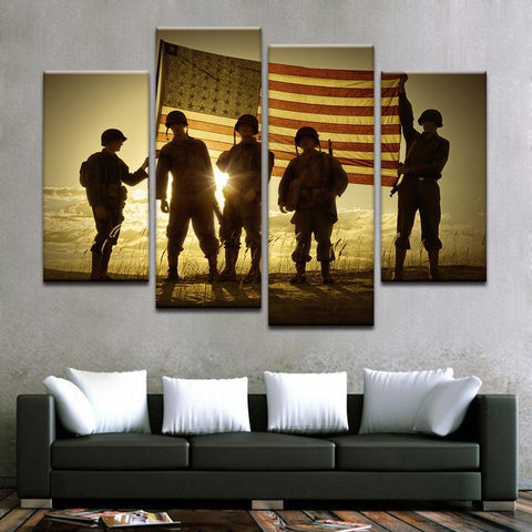 Soldiers Standing In A Flag Draped Sunset Silhouette Canvas Art - Mystikz Gaming