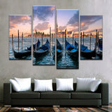 Scenic View of Boats And A Town Canvas Art - Mystikz Gaming