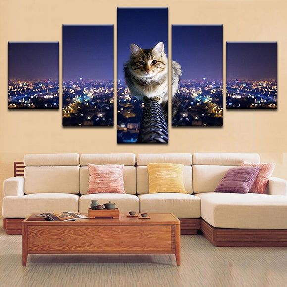 The Cat And The City Night Sky Canvas Art