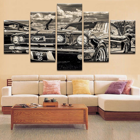 Black And White 1965 Ford Mustang Canvas Art - Mystikz Gaming