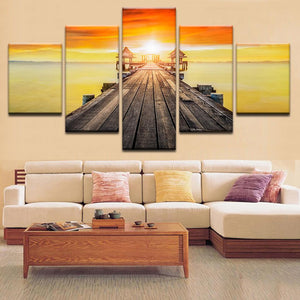 Bridge Leading to Paradise With A Sunset Canvas Art - Mystikz Gaming