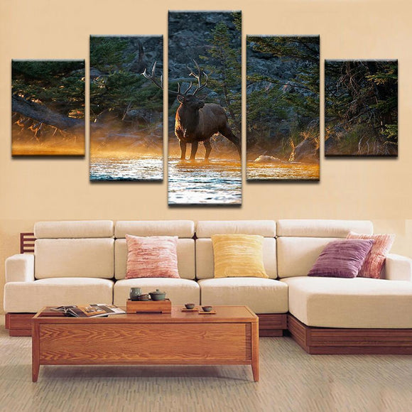 A Deer And A Lake Canvas Art - Mystikz Gaming