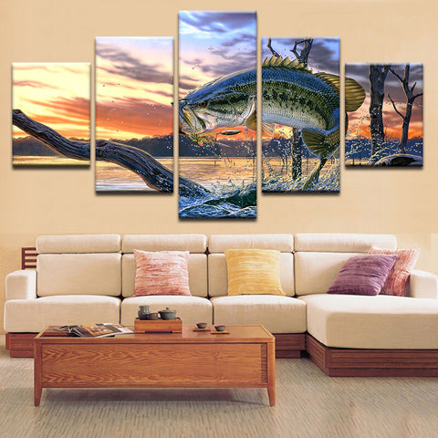 Jumping Mega Fish Canvas Art - Mystikz Gaming