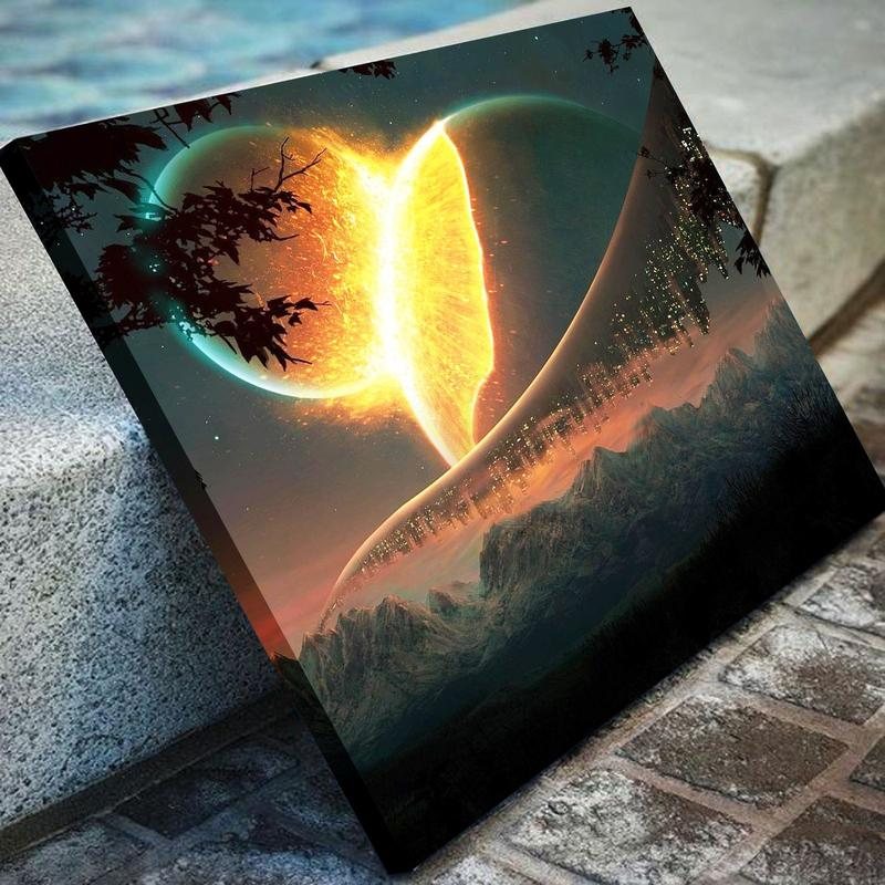 Celestial Crash Of Planets Canvas Art