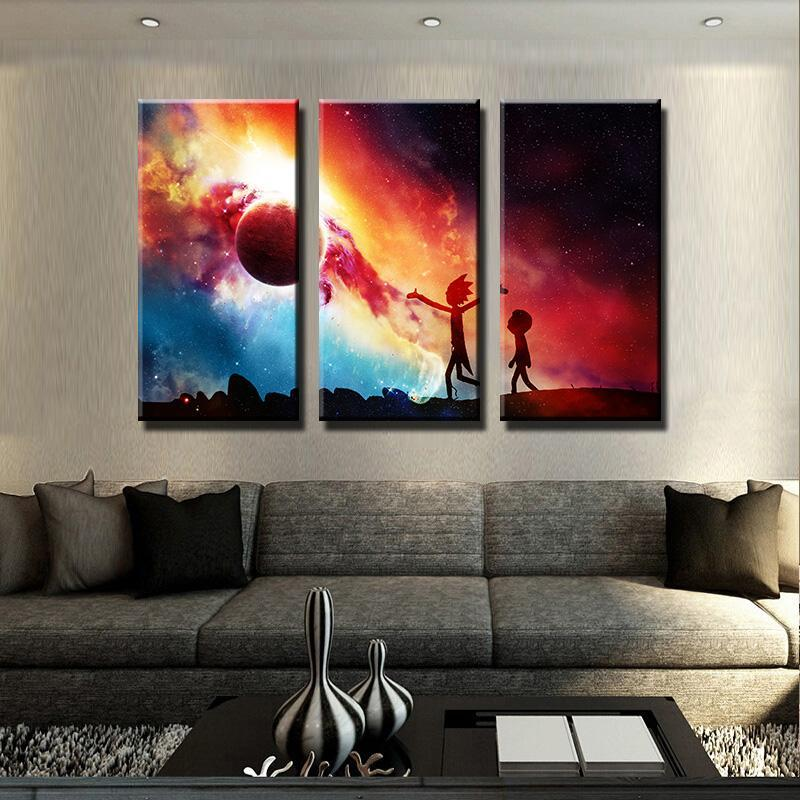 Rick And Morty Colourful Planet Canvas Art
