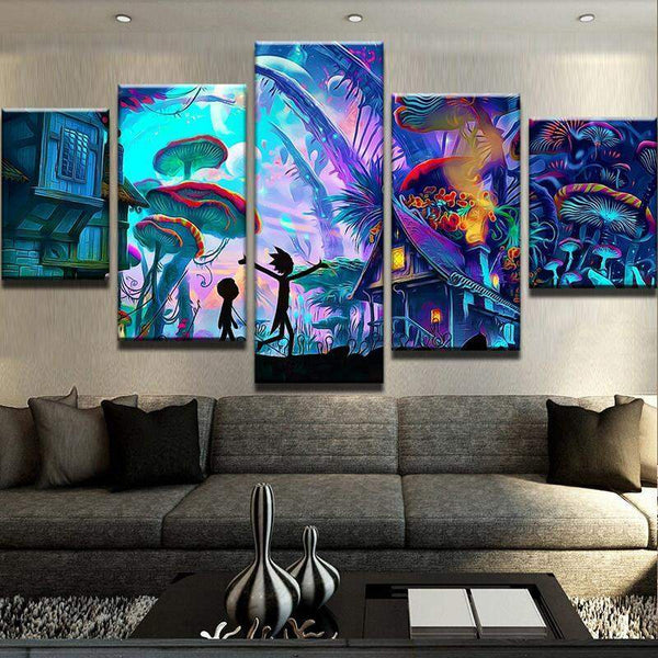 Rick And Morty Mushroom World Canvas Art