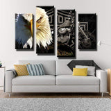 Eagle And Motorcycle Canvas Art