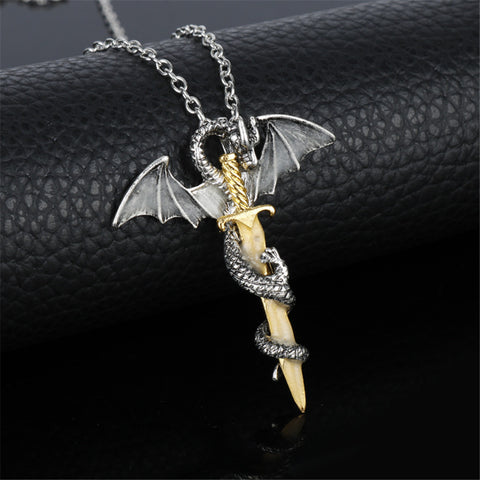Dragon Sword Glow In The Dark Necklace