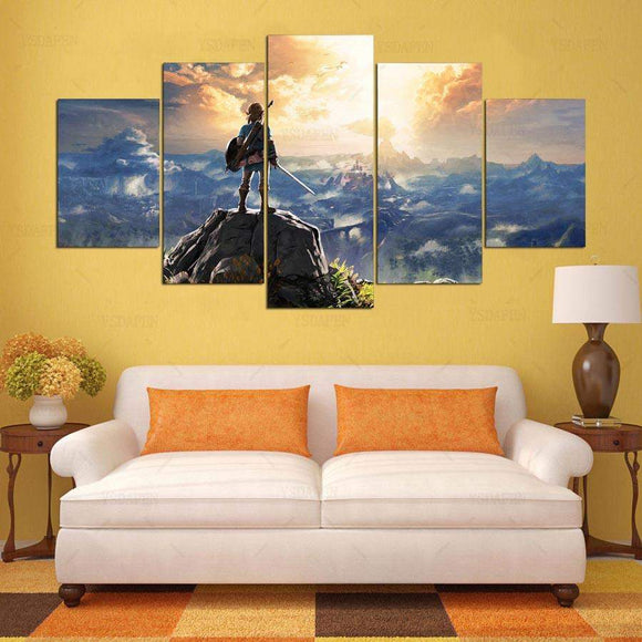 Legend Of Zelda Atop A Mountain Overlooking Hyrule 5 Piece Canvas Art