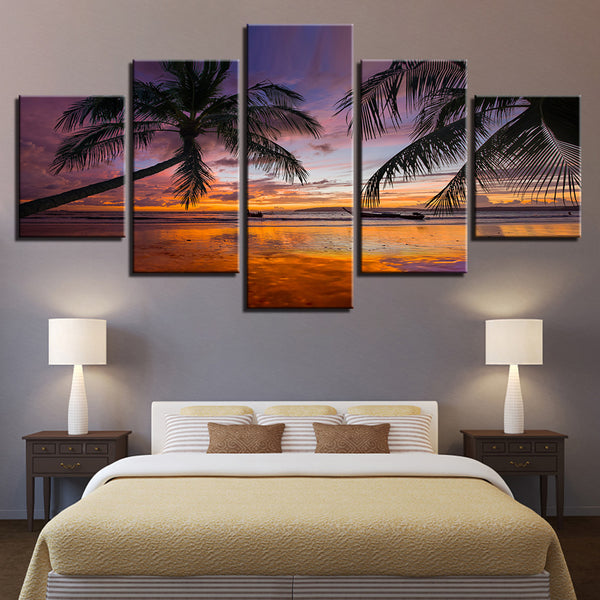 Sunset Beach Palm Trees Seascape - Mystikz Gaming