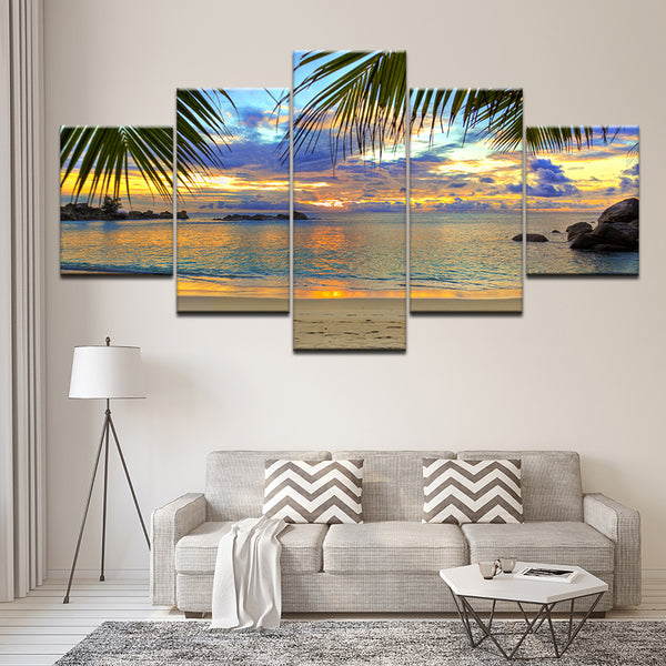 Sunset Beach Coconut Tree Seascape - Mystikz Gaming
