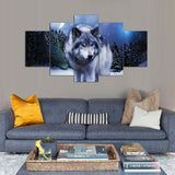 Arctic wolf 5 piece canvas art