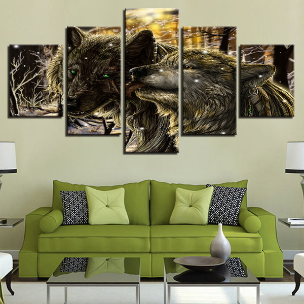 Abstract Painting Snow Night Forest Animal Wolves - Mystikz Gaming