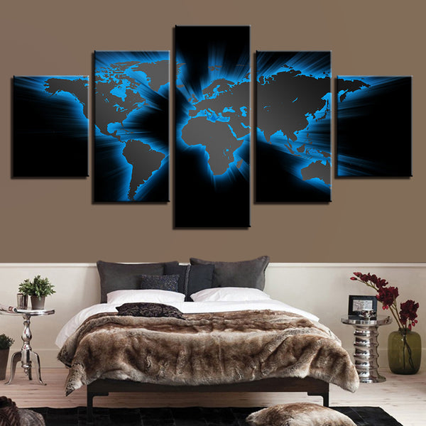 Abstract Light Blue World Map Office - Mystikz Gaming