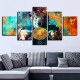 Mr. Wolf And Bitcoins Painting Color Abstract Coin - Mystikz Gaming