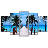 Paradise Dockside Blue Sky Sea Bridge Coconut Trees - Mystikz Gaming