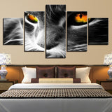 Orange Eyes Grey Cat Abstract Animal - Mystikz Gaming