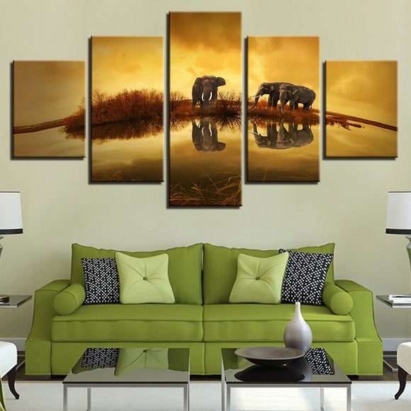 Animal Elephants Unset Lake Landscape - Mystikz Gaming