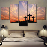 Decor Christian Cross Sunset Scenery - Mystikz Gaming