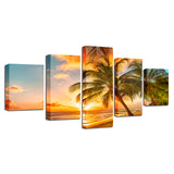 Sunset Beach Wave Palm Trees Seascape Bedroom - Mystikz Gaming