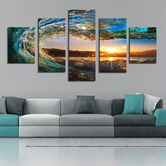 Ocean Sea Wave And Sunset 5 Piece Canvas Art