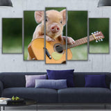 Baby Pig Playing Guitar Animal - Mystikz Gaming