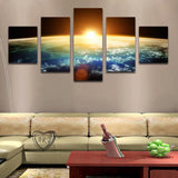 Planet Earth With Sun On The Horizon In Space 5 Piece Canvas Art