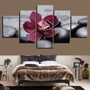 Purple Moth Orchid Flowers Black Pebbles Room - Mystikz Gaming