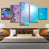 Cherry Blossoms Tree Under The Blue Sky Painting - Mystikz Gaming